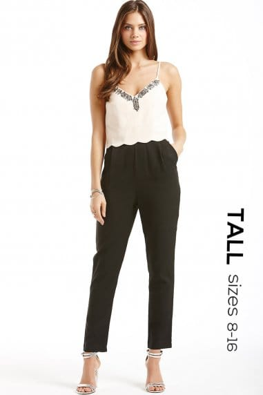 Tall Nude and Black Embellished Scallop Trim Jumpsuit