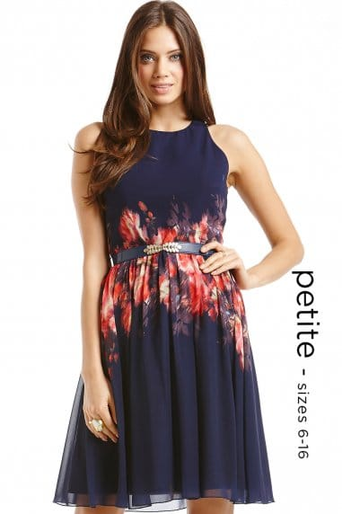 Petite Navy Blurred Floral Belted Fit and Flare dress