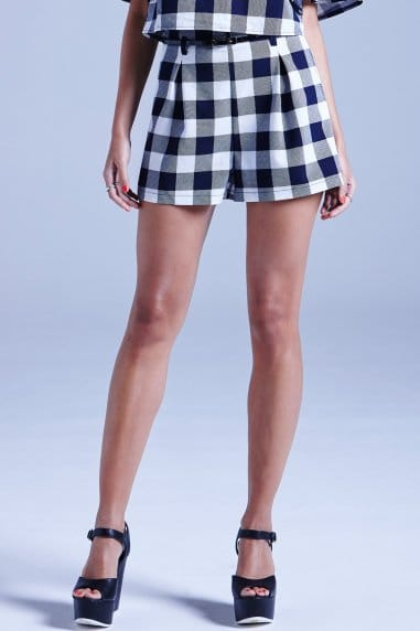 Navy and White Gingham Shorts