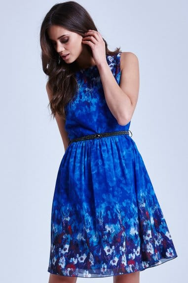 Blue Water Paint Floral Fit and Flare Dress