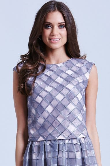 Grey and Pink Organza Gingham Top