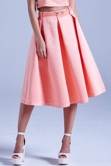 Coral Structured Midi Skirt With Belt