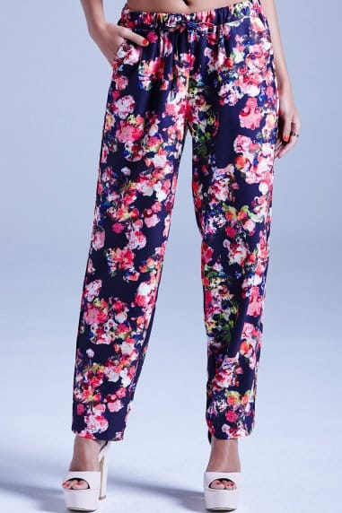 Navy Kaleidoscope Floral Trousers