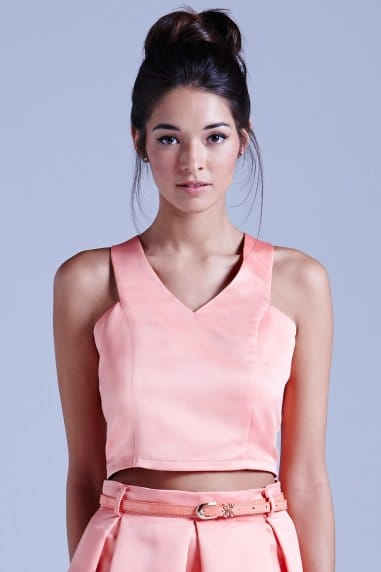 Coral Structured V-neck Crop Top