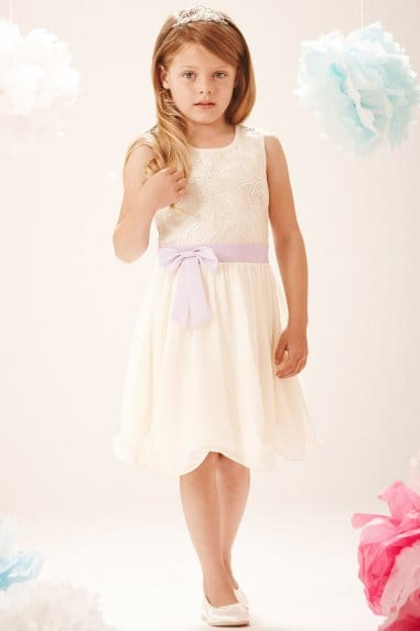 Cream And Lilac PU Sequin Bow Front Dress