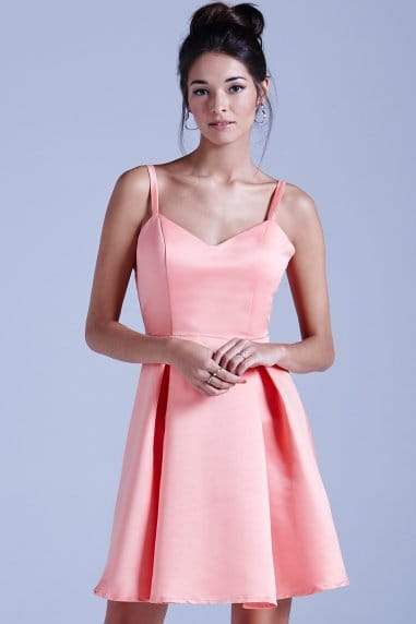 Coral Structured Bow Back Prom Dress