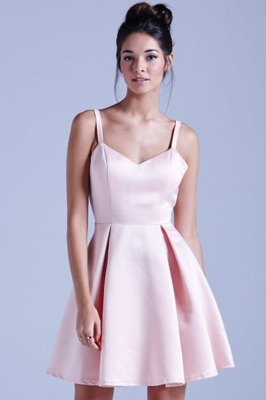 Nude Structured Bow Back Prom Dress