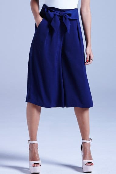 Navy Bow Front Culottes