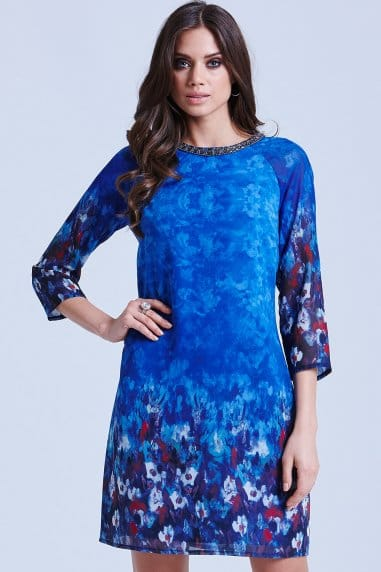 Blue Water Paint Floral Tunic Dress