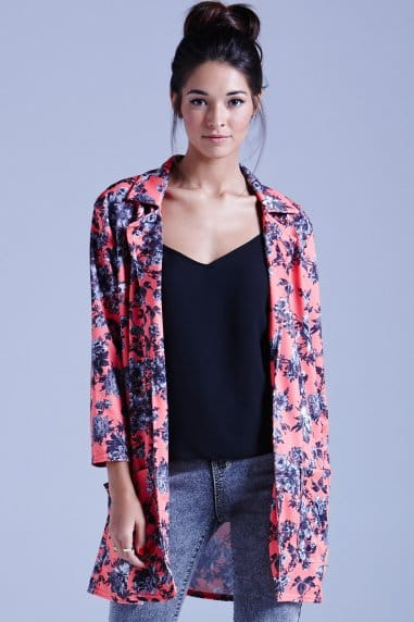 Coral Texured Floral Jacket