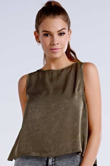 Khaki Open Back Sleeveless Top