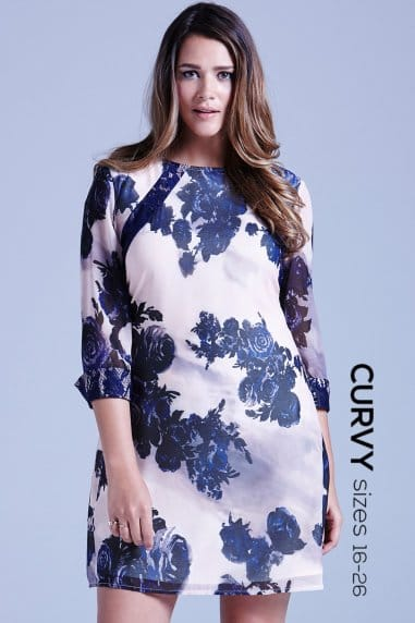 Curvy Nude and Navy Sheer Floral Tunic Dress