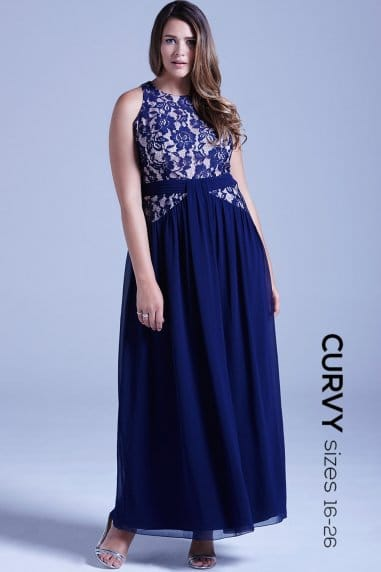 Curvy Navy and Lace Floral Maxi Dress
