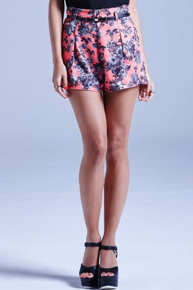 Coral Textured Floral Shorts