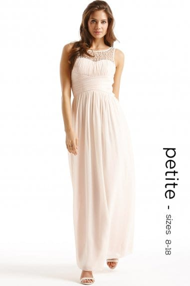 Petite Nude Embellished Detail Maxi Dress