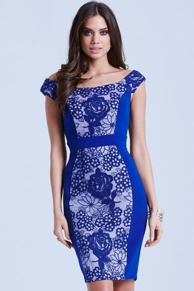 Blue Floral Overlay Bodycon Dress