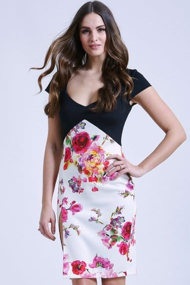 Two in one black and floral bodycon dress