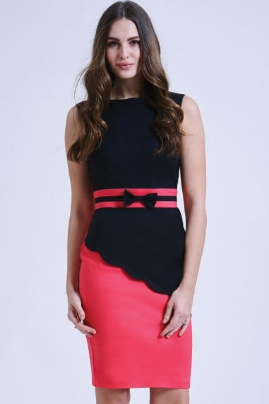 Pink and Black Asymmetric Block Dress