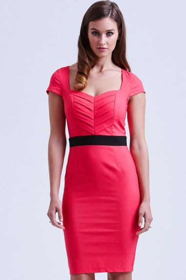 Coral Pleated Sweetheart Dress