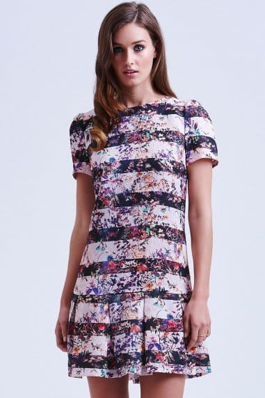 Floral Stripe Jacquard Tunic Dress