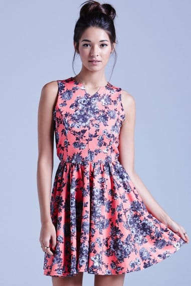 Coral Texured Floral Fit and Flare Dress