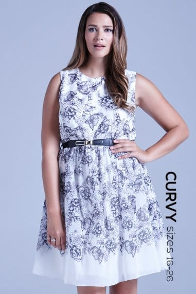 Grey and White Illustrated Floral Fit and Flare Dress