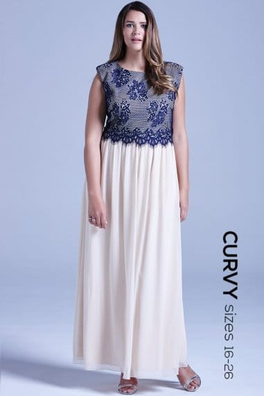 Curvy Cream and Navy Lace Overlay Maxi Dress