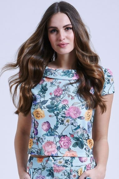 Floral Collared Top