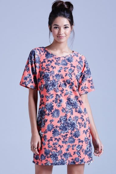 Coral Texured Floral Tunic Dress