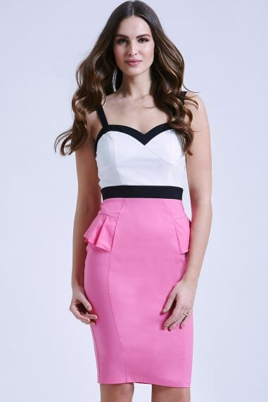 Cream, Pink and Black Peplum Dress