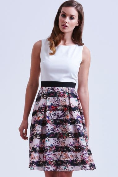 White and Floral Stripe Jacquard Dress