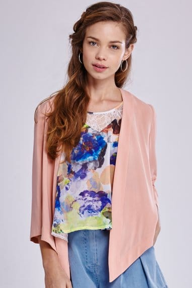 Peach Open Waterfall Jacket