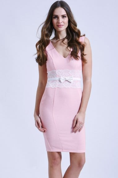 Pink bodycon dress with lace middle