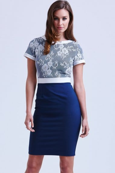 Navy and White Lace Top Dress