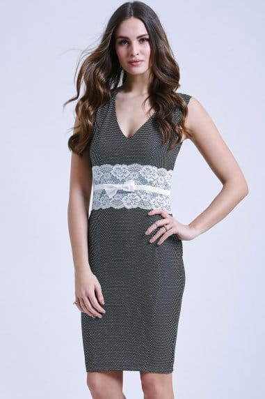 Black bodycon dress with lace middle