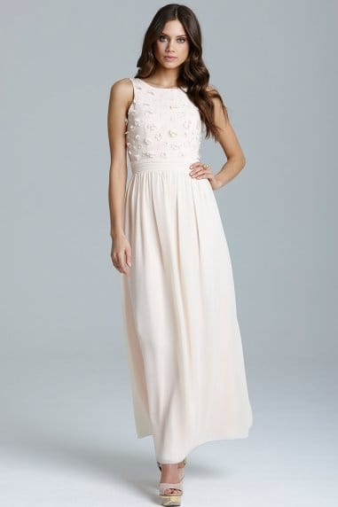 Nude Applique Maxi Dress