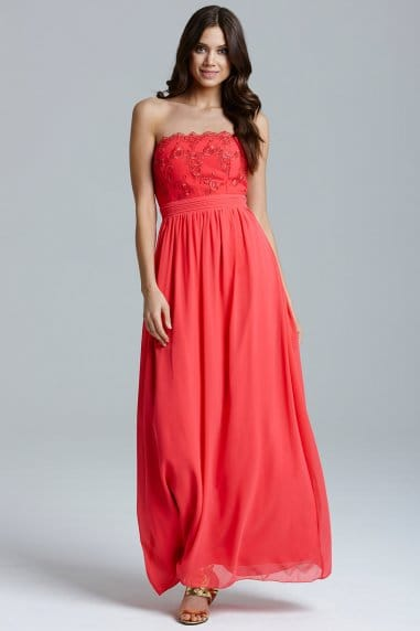 Coral Lace Bust Strapless Dress
