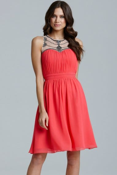 Coral Embellished Mesh Detail Dress