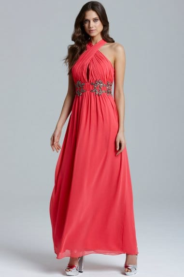 Coral Wrap Neck Leaf Embellished Maxi Dress
