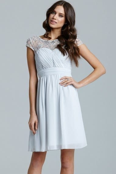 Light Grey embellished chiffon dress