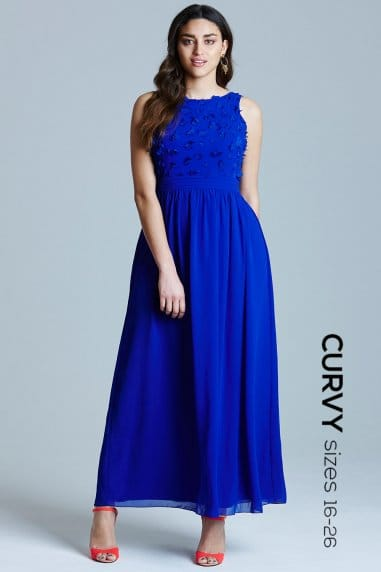 Curvy Blue Applique Maxi Dress