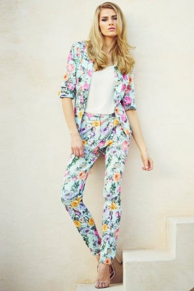 Floral Waffle Print Trousers