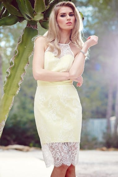 Racer front lemon bodycon dress with lace overlay