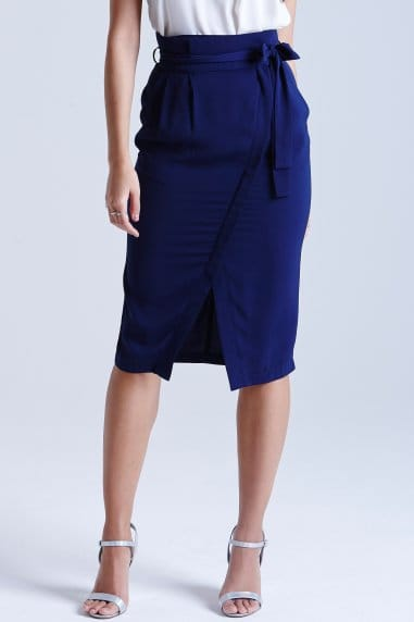 Navy Cross-over Midi Skirt