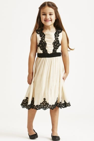 Cream and Black Embroidered Overlay Dress