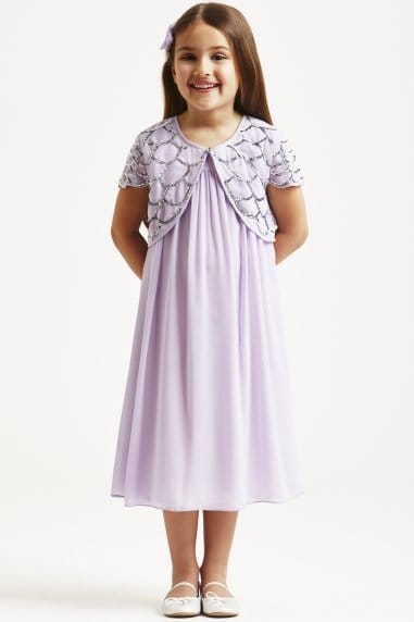Lilac Embellished Cap Sleeve Party Dress