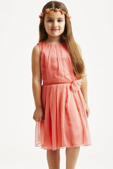 Coral Flower Corsage Party Dress