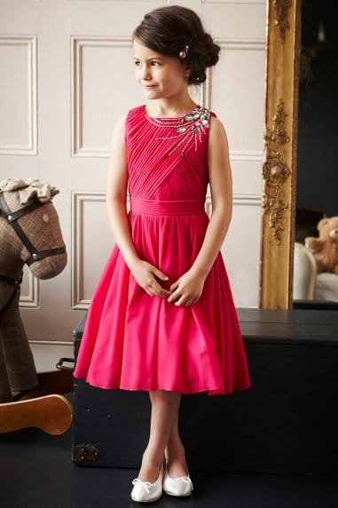 Pink Pleated Embellished Chiffon Party Dress