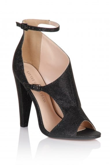Black Glitter Cut Out Shoes
