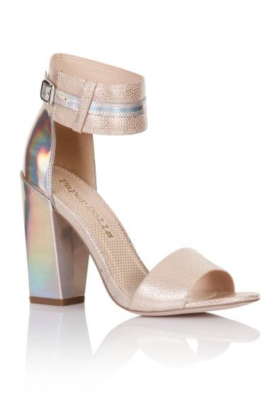 Nude Holographic Two Strap Heels